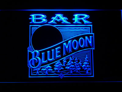 Blue Moon Old Logo Bar LED Neon Sign - Blue - SafeSpecial