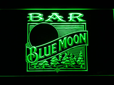 Blue Moon Old Logo Bar LED Neon Sign - Green - SafeSpecial
