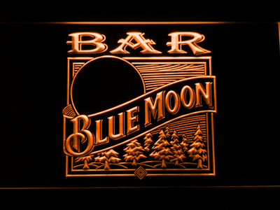 Blue Moon Old Logo Bar LED Neon Sign - Orange - SafeSpecial