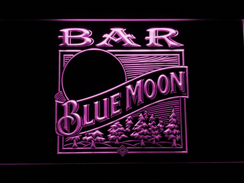 Image of Blue Moon Old Logo Bar LED Neon Sign - Purple - SafeSpecial