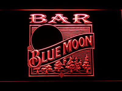 Blue Moon Old Logo Bar LED Neon Sign - Red - SafeSpecial