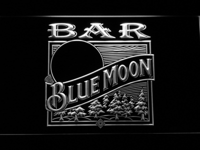 Blue Moon Old Logo Bar LED Neon Sign - White - SafeSpecial