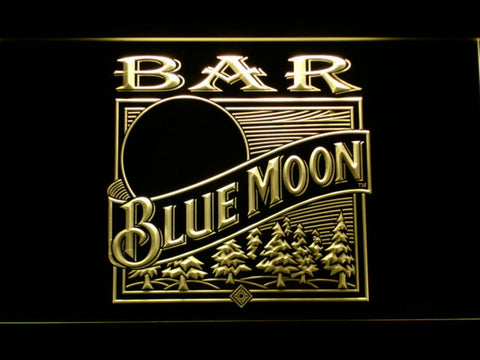 Image of Blue Moon Old Logo Bar LED Neon Sign - Yellow - SafeSpecial