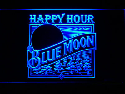 Blue Moon Old Logo Happy Hour LED Neon Sign - Blue - SafeSpecial