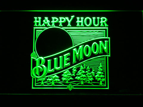 Blue Moon Old Logo Happy Hour LED Neon Sign - Green - SafeSpecial