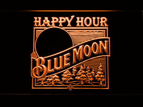Blue Moon Old Logo Happy Hour LED Neon Sign - Orange - SafeSpecial