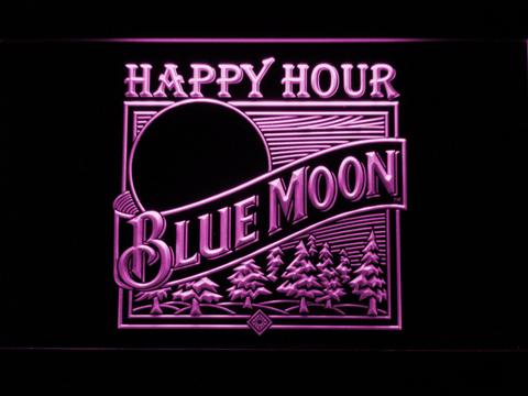 Blue Moon Old Logo Happy Hour LED Neon Sign - Purple - SafeSpecial