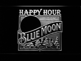 Blue Moon Old Logo Happy Hour LED Neon Sign - White - SafeSpecial