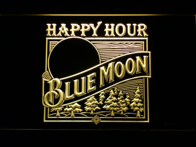 Blue Moon Old Logo Happy Hour LED Neon Sign - Yellow - SafeSpecial