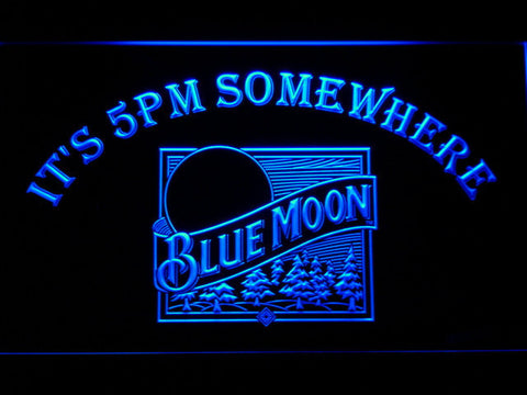 Blue Moon Old Logo It's 5pm Somewhere LED Neon Sign - Blue - SafeSpecial