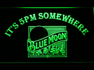 Blue Moon Old Logo It's 5pm Somewhere LED Neon Sign - Green - SafeSpecial