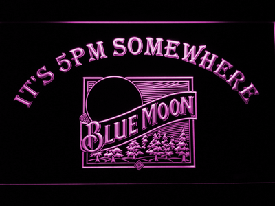 Blue Moon Old Logo It's 5pm Somewhere LED Neon Sign - Purple - SafeSpecial