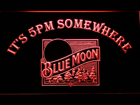 Blue Moon Old Logo It's 5pm Somewhere LED Neon Sign - Red - SafeSpecial