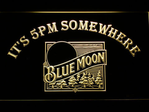 Blue Moon Old Logo It's 5pm Somewhere LED Neon Sign - Yellow - SafeSpecial