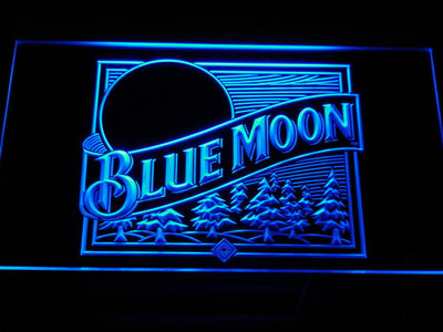 Blue Moon Old Logo LED Neon Sign - Blue - SafeSpecial