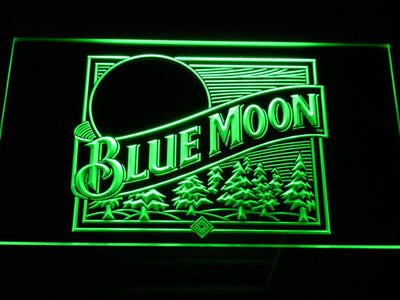 Blue Moon Old Logo LED Neon Sign - Green - SafeSpecial