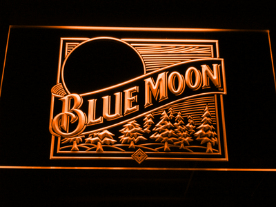 Blue Moon Old Logo LED Neon Sign - Orange - SafeSpecial