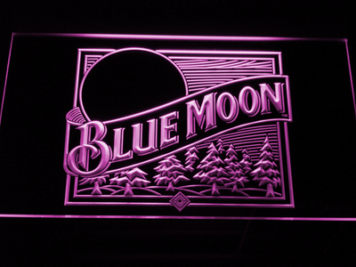 Blue Moon Old Logo LED Neon Sign - Purple - SafeSpecial