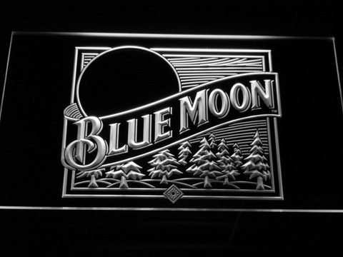 Image of Blue Moon Old Logo LED Neon Sign - White - SafeSpecial