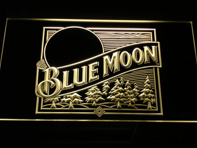 Blue Moon Old Logo LED Neon Sign - Yellow - SafeSpecial
