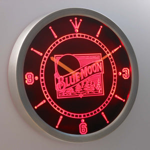 Blue Moon Old Logo LED Neon Wall Clock - Red - SafeSpecial
