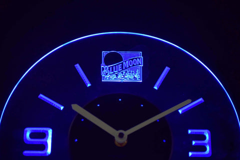 Blue Moon Old Logo Modern LED Neon Wall Clock - Blue - SafeSpecial