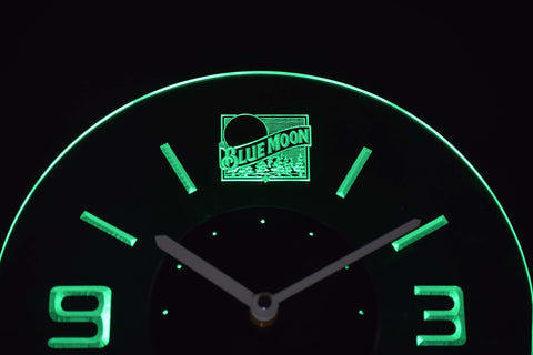 Blue Moon Old Logo Modern LED Neon Wall Clock - Green - SafeSpecial