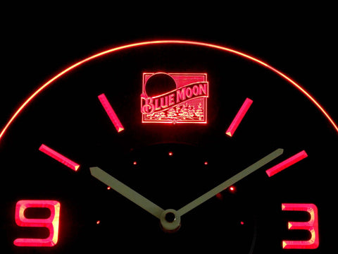 Blue Moon Old Logo Modern LED Neon Wall Clock - Red - SafeSpecial
