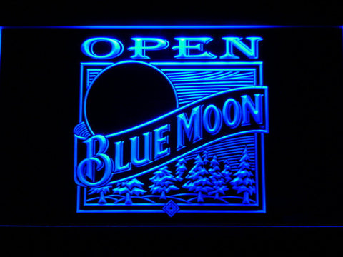 Blue Moon Old Logo Open LED Neon Sign - Blue - SafeSpecial