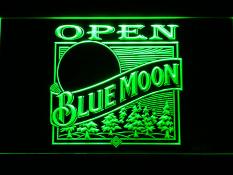 Blue Moon Old Logo Open LED Neon Sign - Green - SafeSpecial