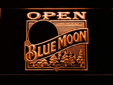 Blue Moon Old Logo Open LED Neon Sign - Orange - SafeSpecial