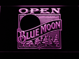 Blue Moon Old Logo Open LED Neon Sign - Purple - SafeSpecial