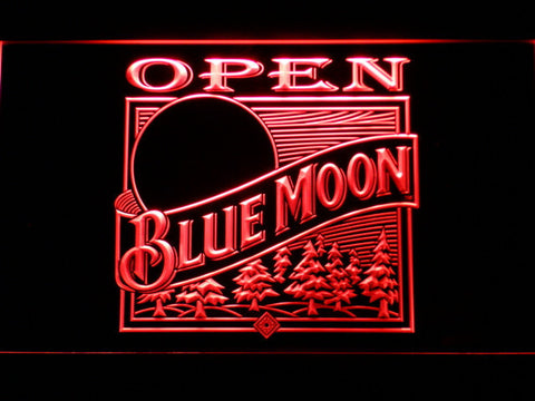 Blue Moon Old Logo Open LED Neon Sign - Red - SafeSpecial