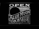 Blue Moon Old Logo Open LED Neon Sign - White - SafeSpecial