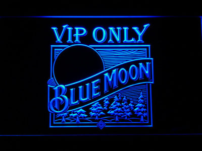 Blue Moon Old Logo VIP Only LED Neon Sign - Blue - SafeSpecial