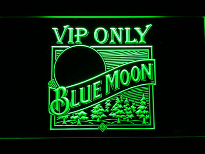 Blue Moon Old Logo VIP Only LED Neon Sign - Green - SafeSpecial