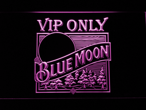 Blue Moon Old Logo VIP Only LED Neon Sign - Purple - SafeSpecial