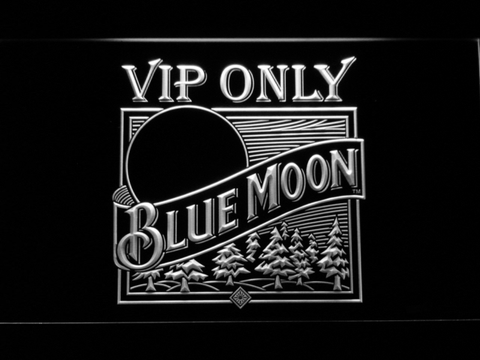 Blue Moon Old Logo VIP Only LED Neon Sign - White - SafeSpecial