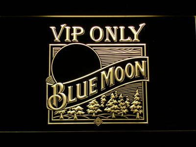 Blue Moon Old Logo VIP Only LED Neon Sign - Yellow - SafeSpecial