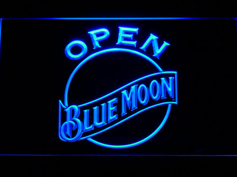 Blue Moon Open LED Neon Sign - Blue - SafeSpecial