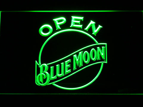 Image of Blue Moon Open LED Neon Sign - Green - SafeSpecial