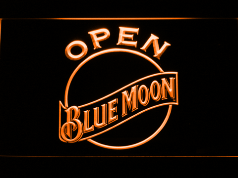 Blue Moon Open LED Neon Sign - Orange - SafeSpecial