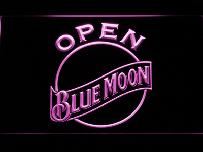 Blue Moon Open LED Neon Sign - Purple - SafeSpecial