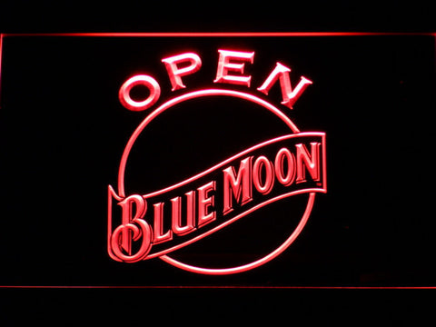 Image of Blue Moon Open LED Neon Sign - Red - SafeSpecial