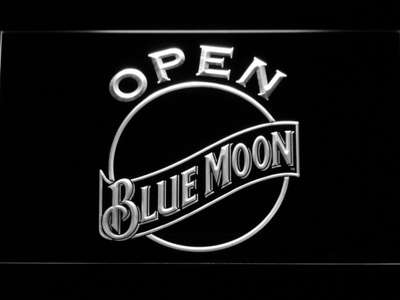 Blue Moon Open LED Neon Sign - White - SafeSpecial