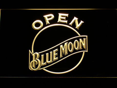 Image of Blue Moon Open LED Neon Sign - Yellow - SafeSpecial
