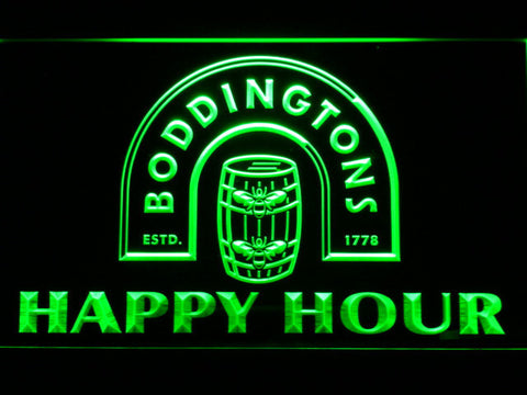 Boddingtons Happy Hour LED Neon Sign - Green - SafeSpecial