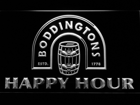 Boddingtons Happy Hour LED Neon Sign - White - SafeSpecial