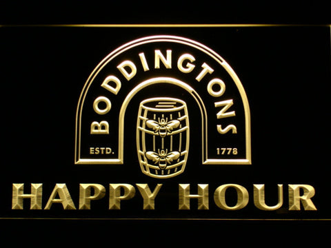 Boddingtons Happy Hour LED Neon Sign - Yellow - SafeSpecial