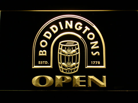 Boddingtons Open LED Neon Sign - Yellow - SafeSpecial